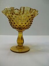 Vintage Fenton Glass Amber Hobnail Footed 6 1/4 inch Comport