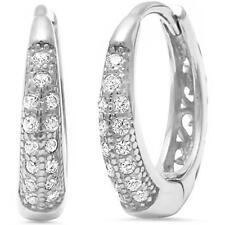 Pave Cubic Zirconia Huggie Hoop .925 Sterling Silver Earrings