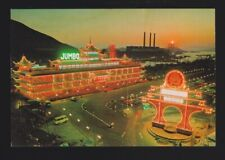Aberdeen Night scene w/ Floating Jumbo Restaurants Hong Kong China postcard N898