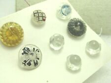 """Vintage 8 Glass Button Lot, Clear & Yellow, 3/8""""to 3/4"""""""