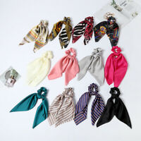 Women Hair Band Bow Ribbon Hair Rope Ring Ties Elastic Scrunchie Ponytail Holder