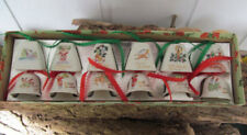Vintage Christmas Bell Porcelain Ornaments - Set of 12  - NEW OLD STOCK