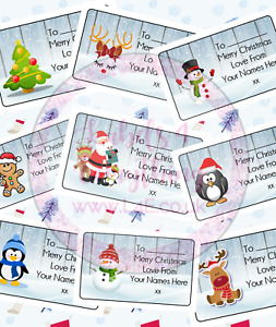 Personalised Christmas Gift Tags Present Stickers Labels Wrapping Xmas Santa