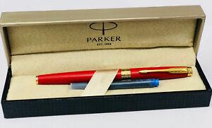 Parker Aster Jotter Matte Red GT Gold Trim Ink Fountain Pen Gift Box Medium New