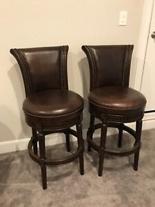 Leather Swivel Bar Stools set of 2 From Frontgate Catalogue