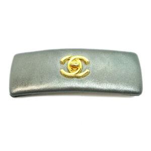 CHANEL CC Logos Hair Barrette Metallic Silver Leather 71 Authentic M13923d