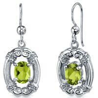 1.5 CT Oval Green Peridot Sterling Silver Dangling Earrings