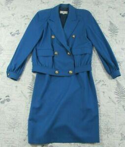 Vintage Italy Valentino Miss V Skirt Suit Jacket gorgeous blue women's 42 /8