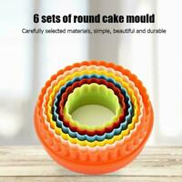 6Pcs Plastic Double Sided Plain/Crinkle Round Cookie Baking Tools Cutters Z6L2