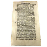 LARGE 1700's German Folio Manuscript Book Leaf - Decor Document Old Antique K