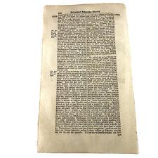 LARGE 1700's German Folio Manuscript Book Leaf - Decor Document Old Antique K
