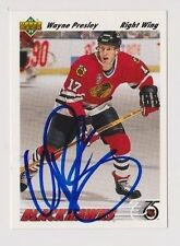 91/92 Upper Deck Wayne Presley Chicago Blackhawks Autographed Hockey Card