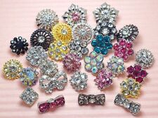 "Lot 30 Mixed 3/8""-5/8"" Sparkling Glass Rhinestone Metal Buttons~GREAT PRICE!"