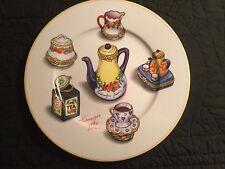 1855 Email de Limoges Main a S Marino I Godinger Tea Pot Plate Signed France