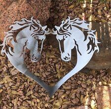 """HORSE HEART SILHOUETTE - WESTERN - METAL ART  16"""" x 14"""" SILVER"""