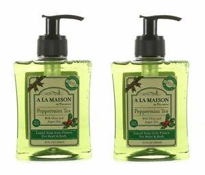 (2) A LA MAISON HAND BODY SOAP PEPPERMINT TEA 10 OZ EA