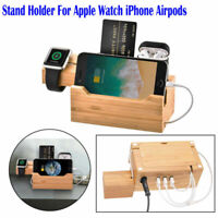 Wood Natural Bamboo Charging Dock Station Stand Holder For iPhone Watch Airpods