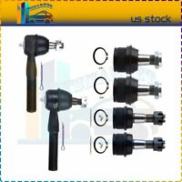 New 6Pcs Fits For 1980-1996 Ford Bronco Front Ball Joints Outer Tie Rod Ends Kit