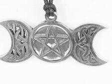Celtic Triple Moon pewter pendant with pentacle, Pagan, Wicca, Goth, protection