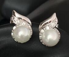 De luxe Goujon Perles Boucles D'oreille Zircon argent 750er Or blanc 18 8 carats