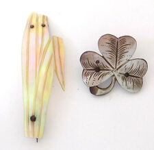 Antique Mother of Pearl Pins, Blades of Grass and Shamrock.