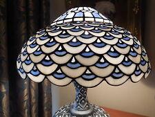 Tiffany Tischlampe, Motiv Pfauenauge, blau-weiss, Fuß silber, Höhe 60, gebraucht