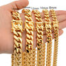 "7""-11"" Hot Mens Bracelet Chain Miami Curb Cuban 316L Stainless Steel Gold Bangle"