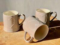 3 x  300 ml im SET Shabby Chic Kaffeebecher Becher Keramik Kaffee taupe 31812