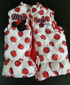 Disney Minnie Mouse Puffer Vest Girls 4t Red White Polka Dots Winter Spring