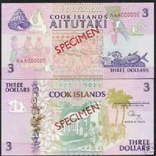 Cook Islands $3 P7 1992 *Specimen* Bird Fish Boat Map World Currency Bill Money