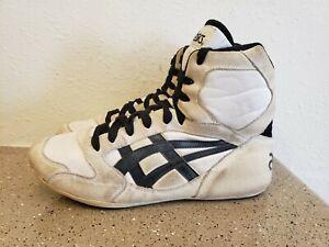 Vintage 80's Asics Wrestling Shoes Size 8 Black White Suede Retro Dan Gable