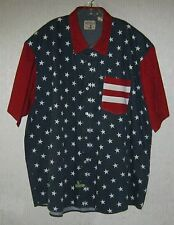 Mens Red Head USA 4th July Patriotic Blue White Red Short Sleeve Shirt XXXL
