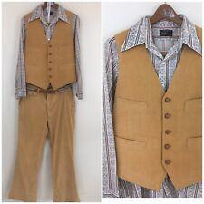 Vtg. 70s 80s Groovy Hippy Disco Suit 2 Piece Corduroy Leisure Suit Tan Wide Leg