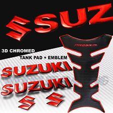 "CHROMED RED PRO GRIP FUEL TANK PAD+6"" SUZUKI LOGO+LETTER FAIRING EMBLEM STICKER"