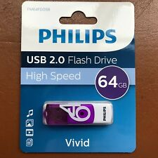 NEW PHILIPS 64 GB VIVID HIGH SPEED USB Flash Drive Memory Stick Pen Drive