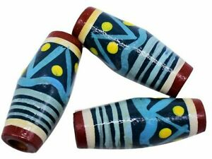 10 Hand-painted Tube Barrel Multi Color Ethnic Wooden Beads 40 x 16 mm Vintage
