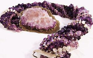 Amethyst Crystal Quartz Statement Multi Strand Choker Necklace | Vintage