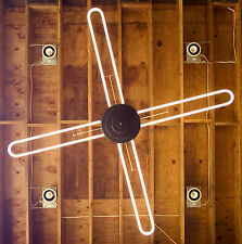 Vintage Neon Ceiling Light Fixture Rare Machine Age Modern 8+ Ft  Diameter Rare