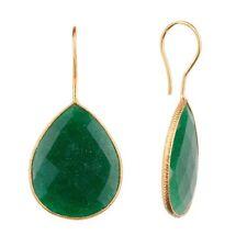 18K Gold Plated Earrings Black Green Red Blue Onyx Quartz Pear Drop Earrings