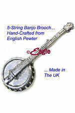 5-String Banjo Hand-Crafted English Pewter Badge Made in UK