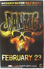"DANZIG ""SKULL & HORNS"" 2009 SAN DIEGO CONCERT TOUR POSTER - Misfits, Metal Music"