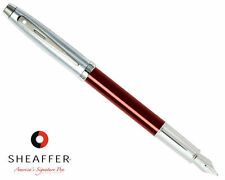 Sheaffer 100 Red Translucent w/ Brushed Chrome Cap Medium Point Fountain Pen