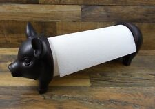 Black Pig Paper Towel Holder Farmhouse Country Kitchen Farm Animal Home Decor