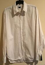 Paul Smith Men's Button Front Shirt Ivory Polka Dots Slim Fit  XL Cotton