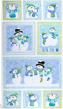 9 BEAUTIFUL WINTER LET IT SNOW PANELS SNOWMAN SNOWMEN FAMILY QUILTS HOME DECOR