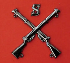 """""""SNIPER BADGE CROSSED LEE ENFIELD .303 RIFLES WITH LETTER """"S"""" BLACK METAL PLATED"""