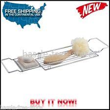 Expandable Bathtub Shelf Caddy Holder Bathroom Storage Organizer Tub Rack Tray
