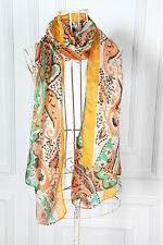 Long Chiffon Scarf Brown and Yellow Theme Paisley Print CHL103
