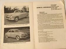 SIMCA ARONDE Owners Manual 1954 -1962 & SIMCAMATIC