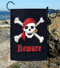 New Toland - Beware - Skull Cross Bones Pirate Double Sided Garden Flag